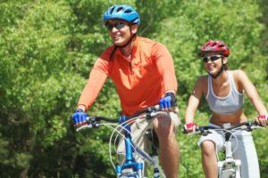 Cyclists Wearing Helmets